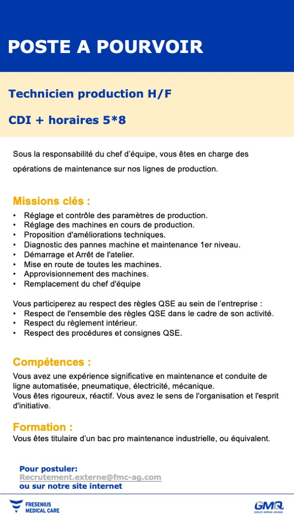 Annonce Technicien de production
